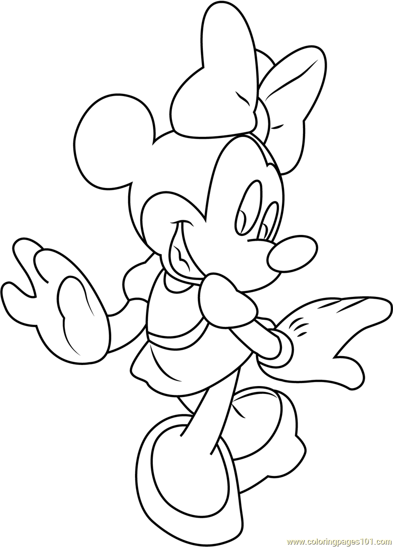 Minnie Mouse Walking Coloring Page Free Minnie Mouse Coloring Pages Coloringpages101 Com
