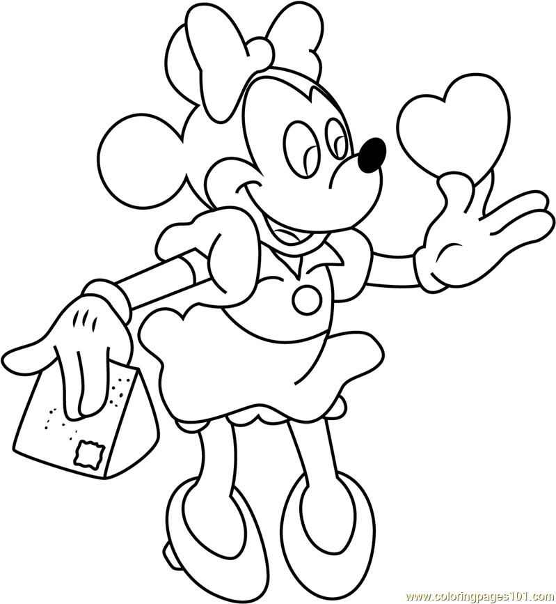 Minnie Mouse With Heart Coloring Page Free Minnie Mouse