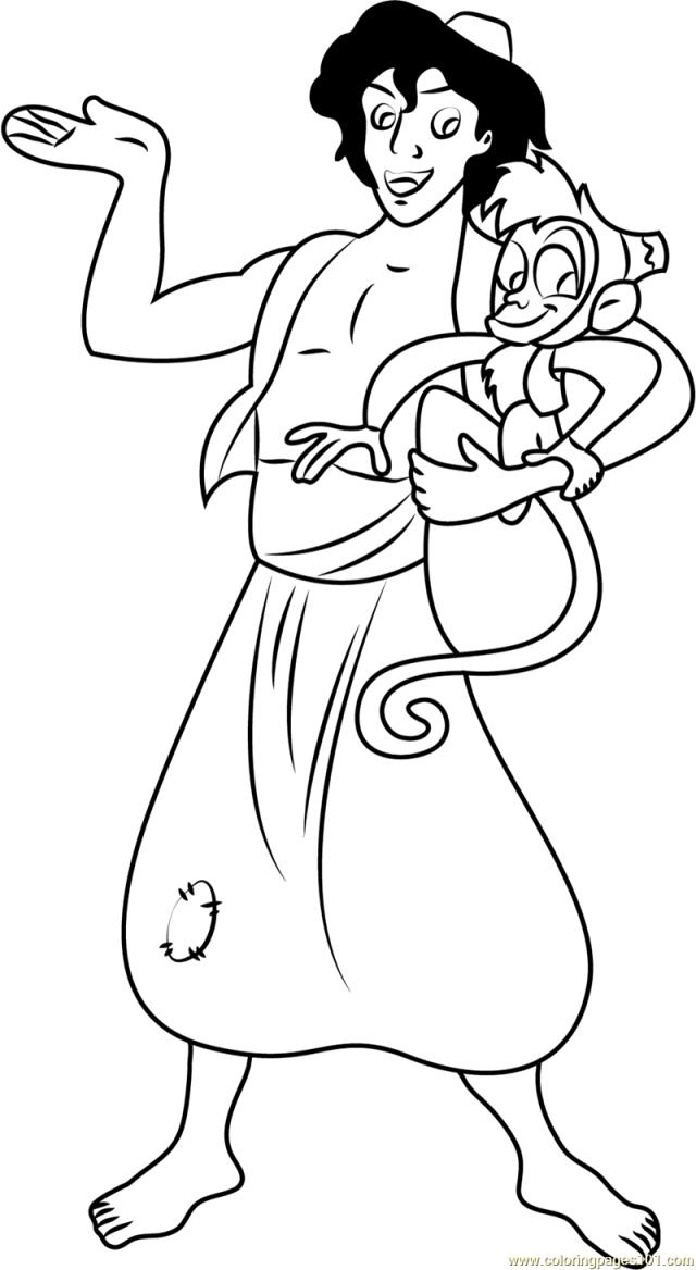 Aladdin and Abu Coloring Page for Kids - Free Aladdin Printable