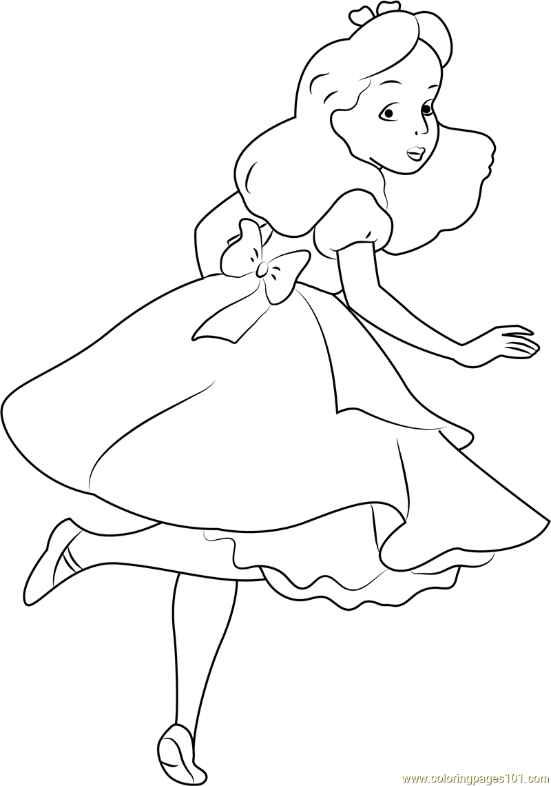 Chibi Alice In Wonderland Drawings Sketch Coloring Page