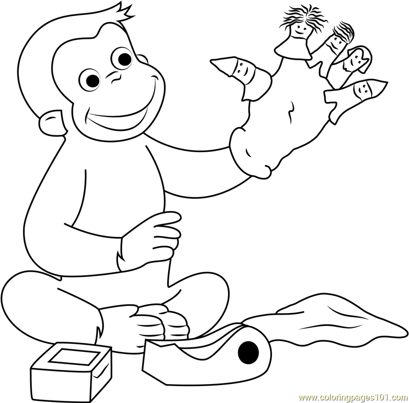 Curious George Playing Puppets Fingers Game Coloring Page