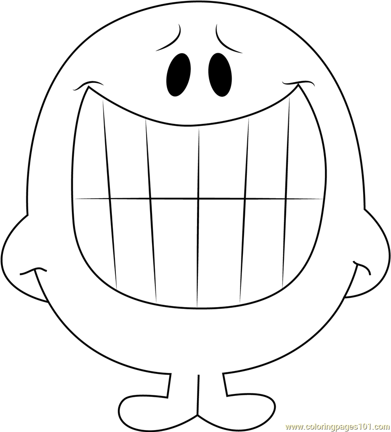 Smiling Coloring Page Free Mr Men Coloring Pages