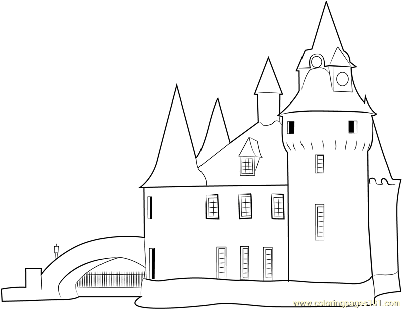 Medieval Castle Birds Eye Coloring Pages