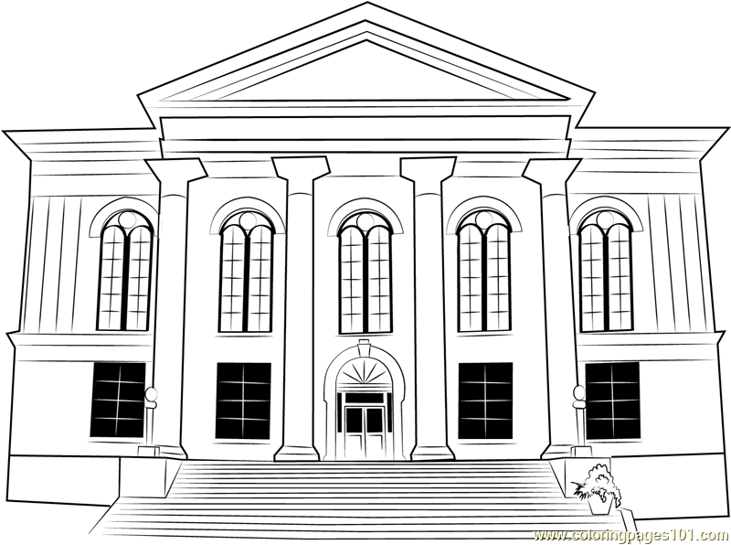 City Hall Thalian printable coloring page for kids and adults