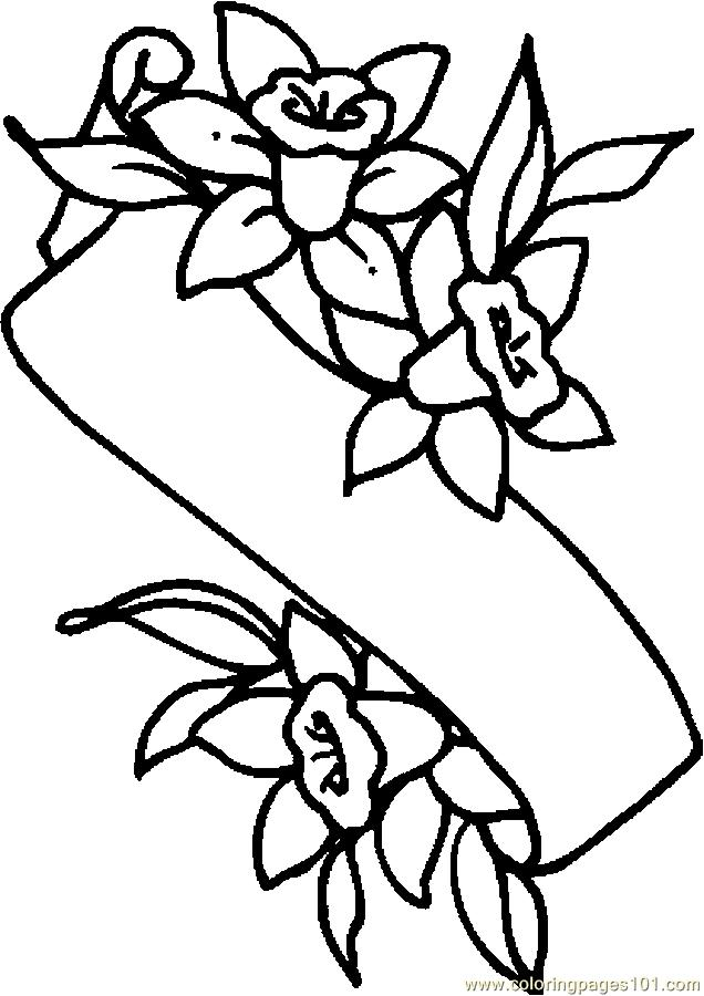 Easter Lily Banner Coloring Page Free Holidays Coloring