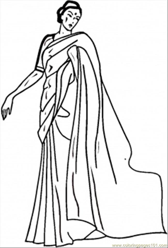 Indian Woman With A Baby Coloring Page