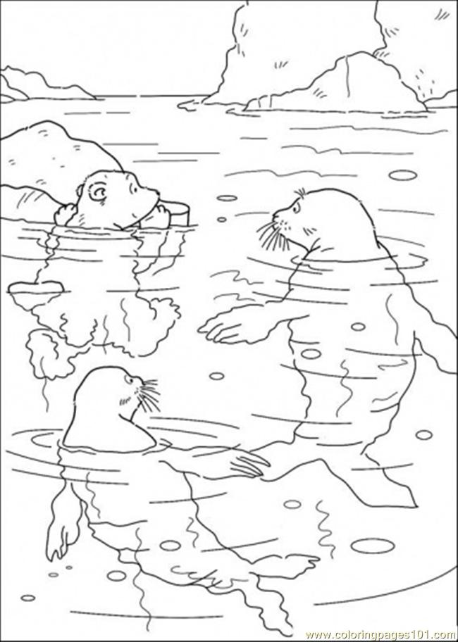 Polar Bear And Swimming With The Walrus Coloring Page