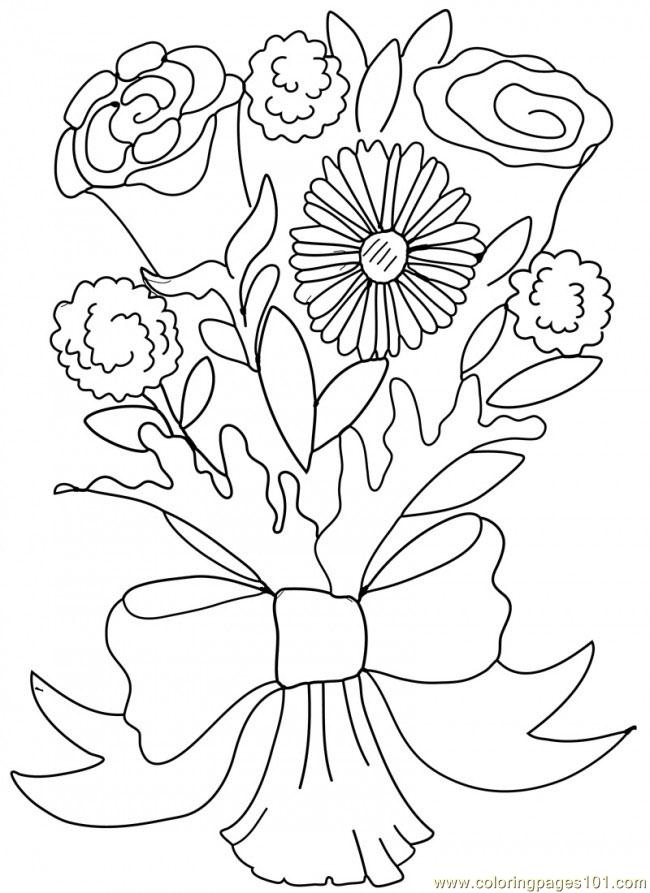 Rose Carnation Valentine Bouquet 650x893 Coloring Page
