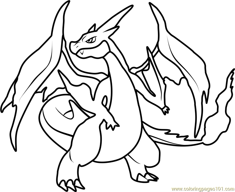mega charizard y pokemon coloring page  free pokémon