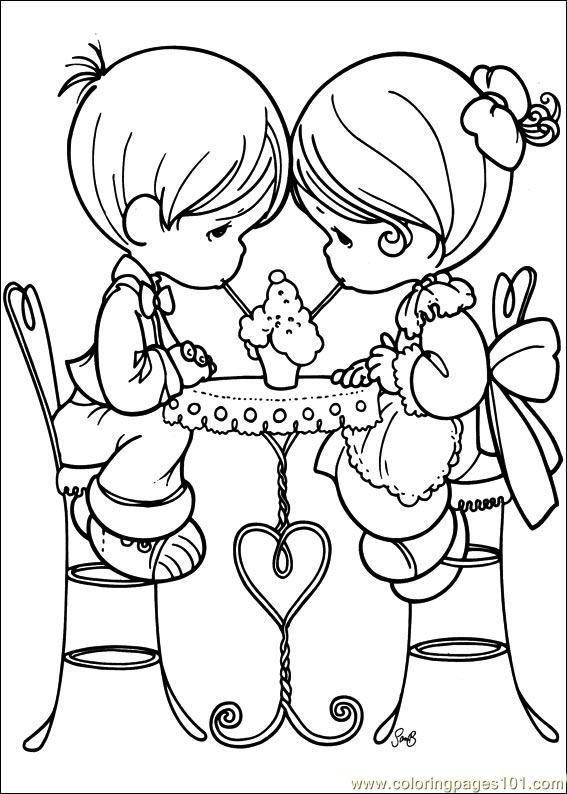 Precious Moments 59 printable coloring page for kids and