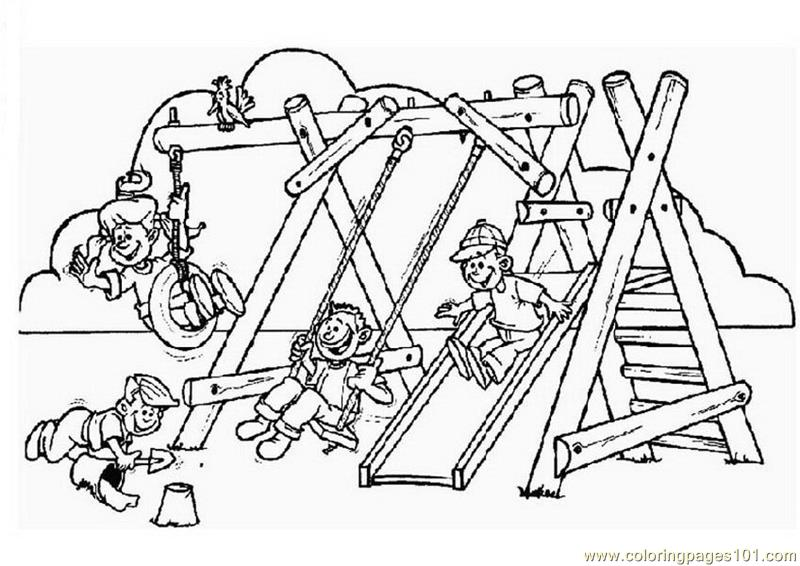 Children enjoying games printable coloring page for kids