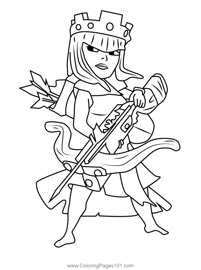 Archer Queen Clash of Clans Coloring Page for Kids - Free Clash of