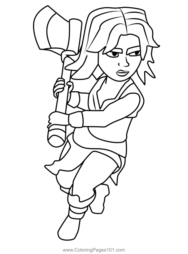 Valkyrie Clash of Clans Coloring Page for Kids - Free Clash of the