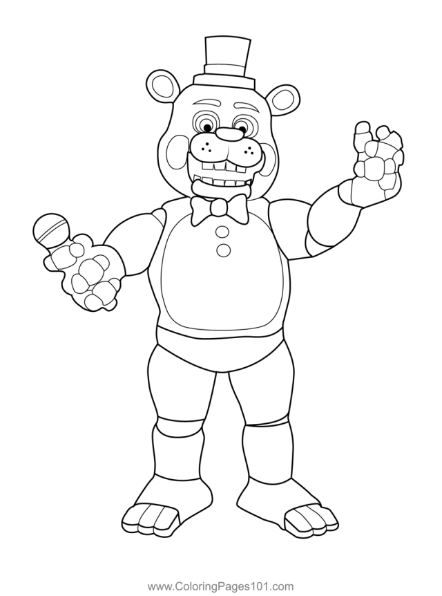 Toy Freddy FNAF Coloring Page for Kids - Free Five Nights at