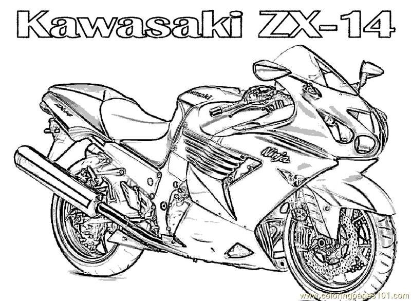 Coloring Pages Motorcycle Kawasaki (Transport > Bikes