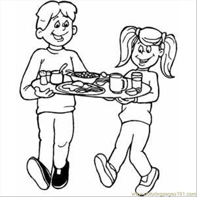 School Lunch Tray Coloring Page Coloring Pages