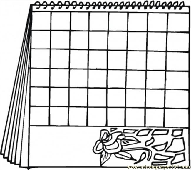 Coloring Pages Calendar With A Flower (Other > Calendar