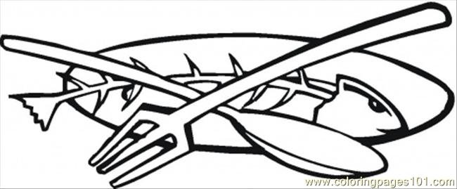 Coloring Pages Fork Fish And Spoon (Other > Kitchenware