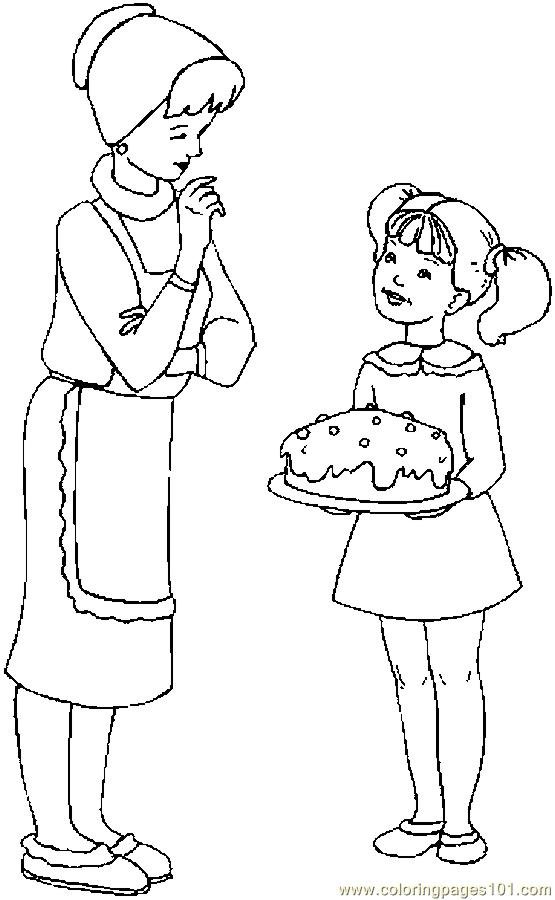 Coloring Pages Cake For Mom (Education > Mother''s Day