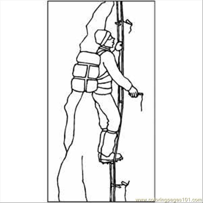 Rock Climbing Printable Coloring Pages