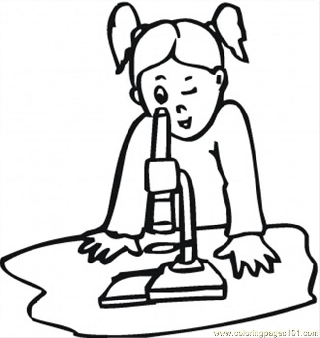 Coloring Pages Schoolgirl On The Lesson Of Biology