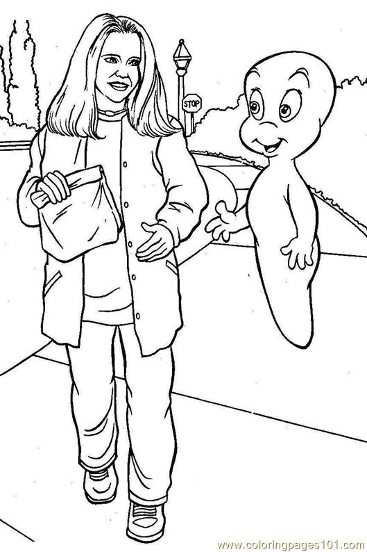 Coloring Pages Casper talking to a man (Cartoons > Others