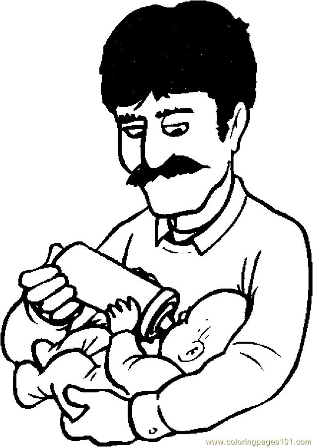 Coloring Pages Father Feeding Baby 1 (Peoples > Others