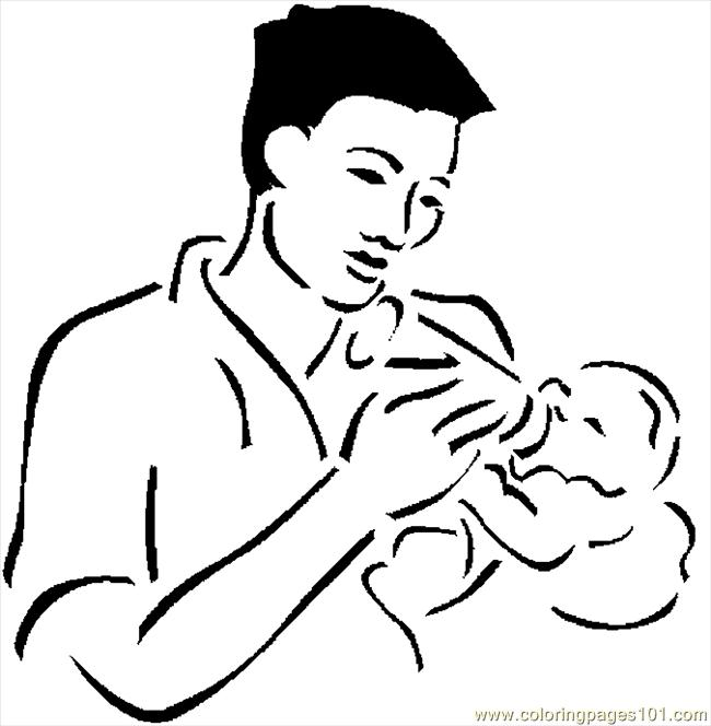 Coloring Pages Father Feeding Baby 2 (Peoples > Others