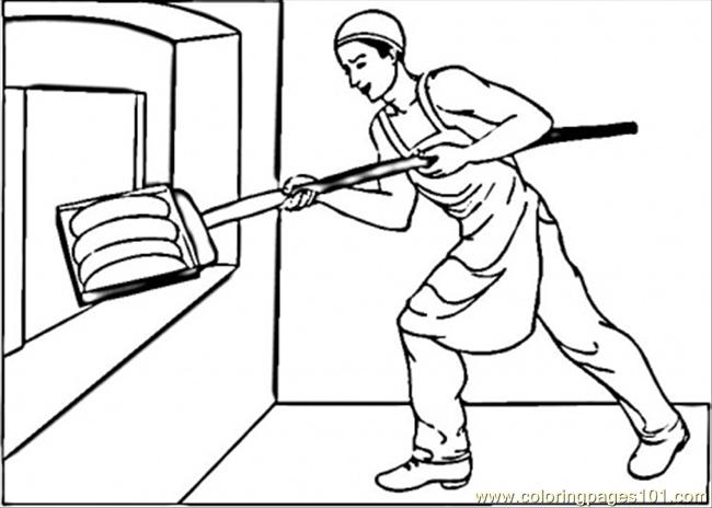 Coloring Pages Putting Bread In Oven (Peoples > Profession