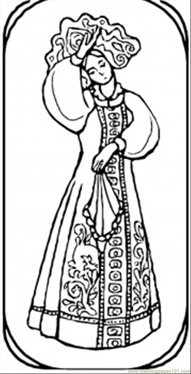 Coloring Pages Goirl From Russian Fairy Tale (Countries