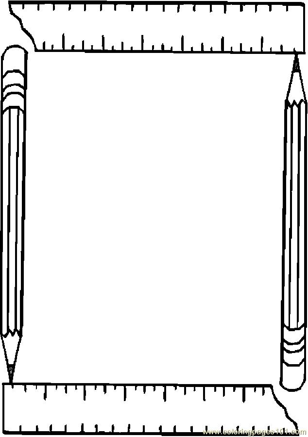 Coloring Pages Pencil & Ruler Frame (Education > School