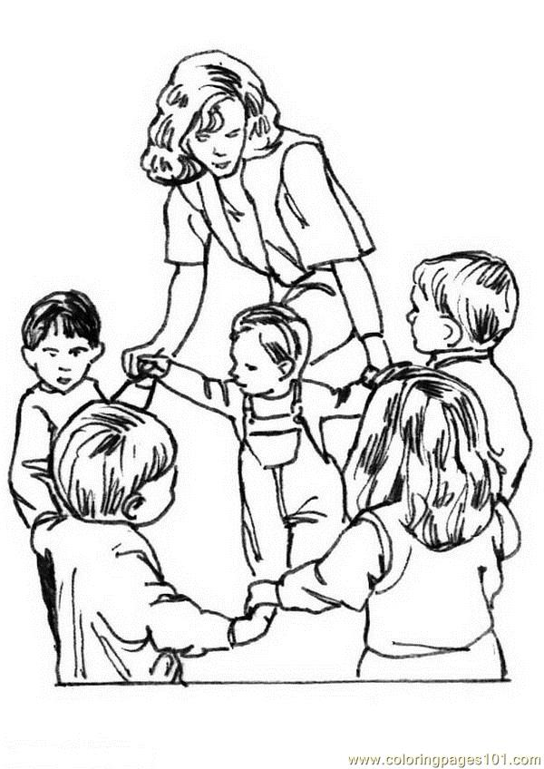 Coloring Pages Teacher playing childrens (Education