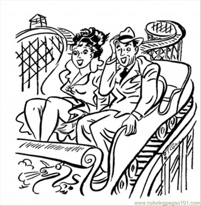 Coloring Pages Couple On The Roller Coaster (Architecture