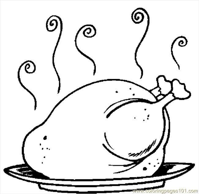Coloring Pages Turkey Cooked 17 (Holidays > Thanksgiving