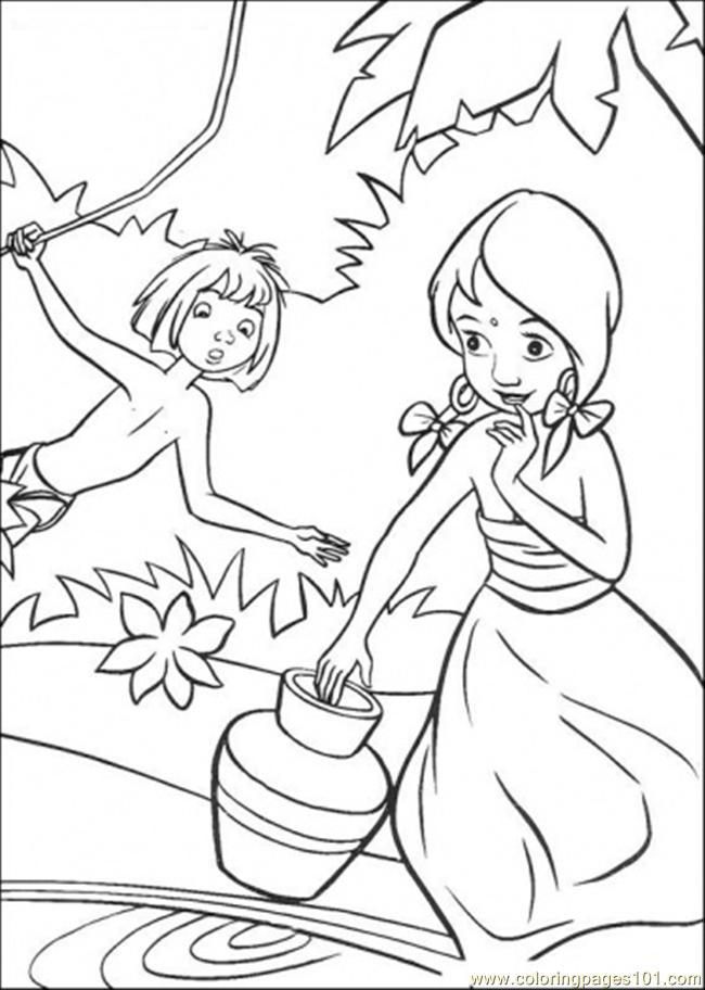 Coloring Pages Indian Girl And Mowgli (Cartoons > The