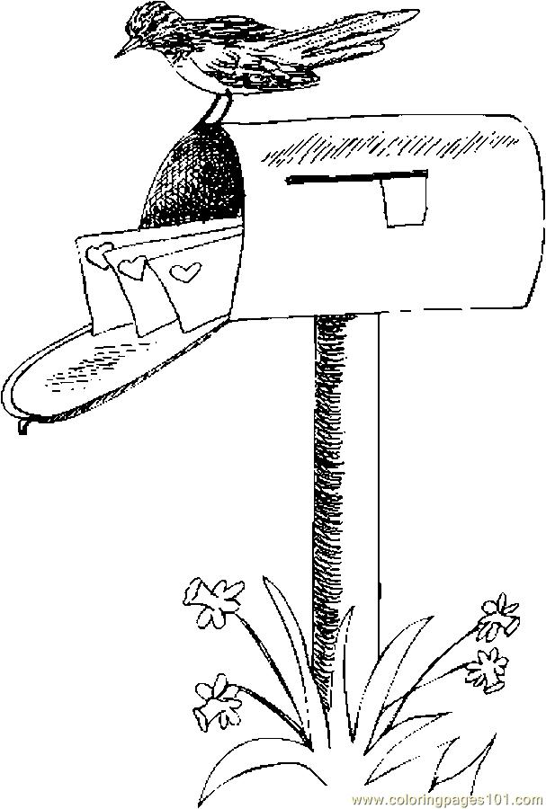 Coloring Pages Mailbox With Valentines 1 (Holidays