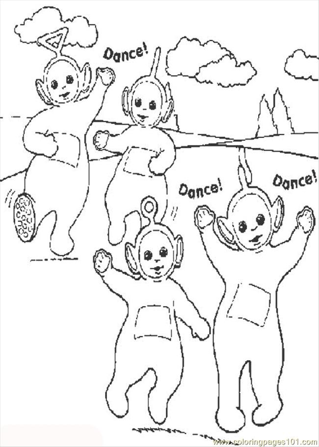 Dance Teletubbies Coloring Page - Free Dancing Coloring