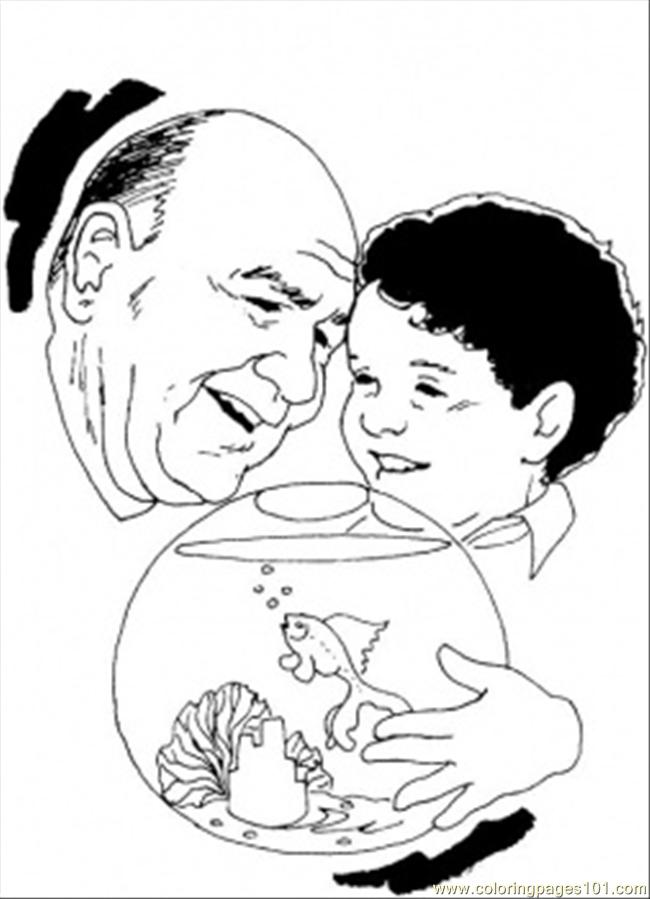 Grandfather With Little Boy Are Feeding A Fish Coloring