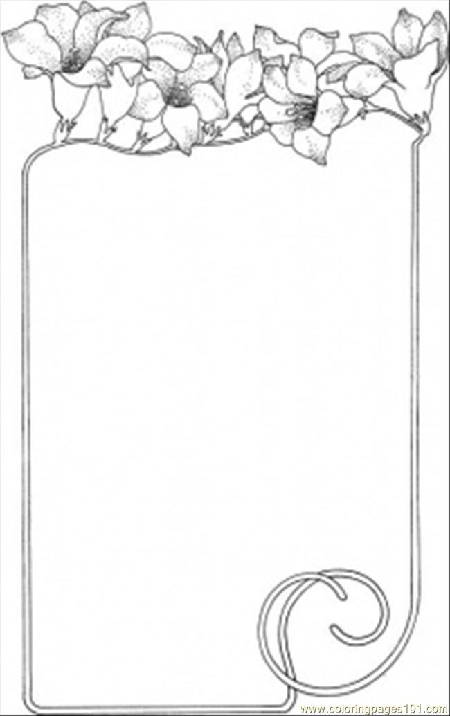 Flowers As The Frame Coloring Page  Free Decorations Coloring Pages  ColoringPages101com