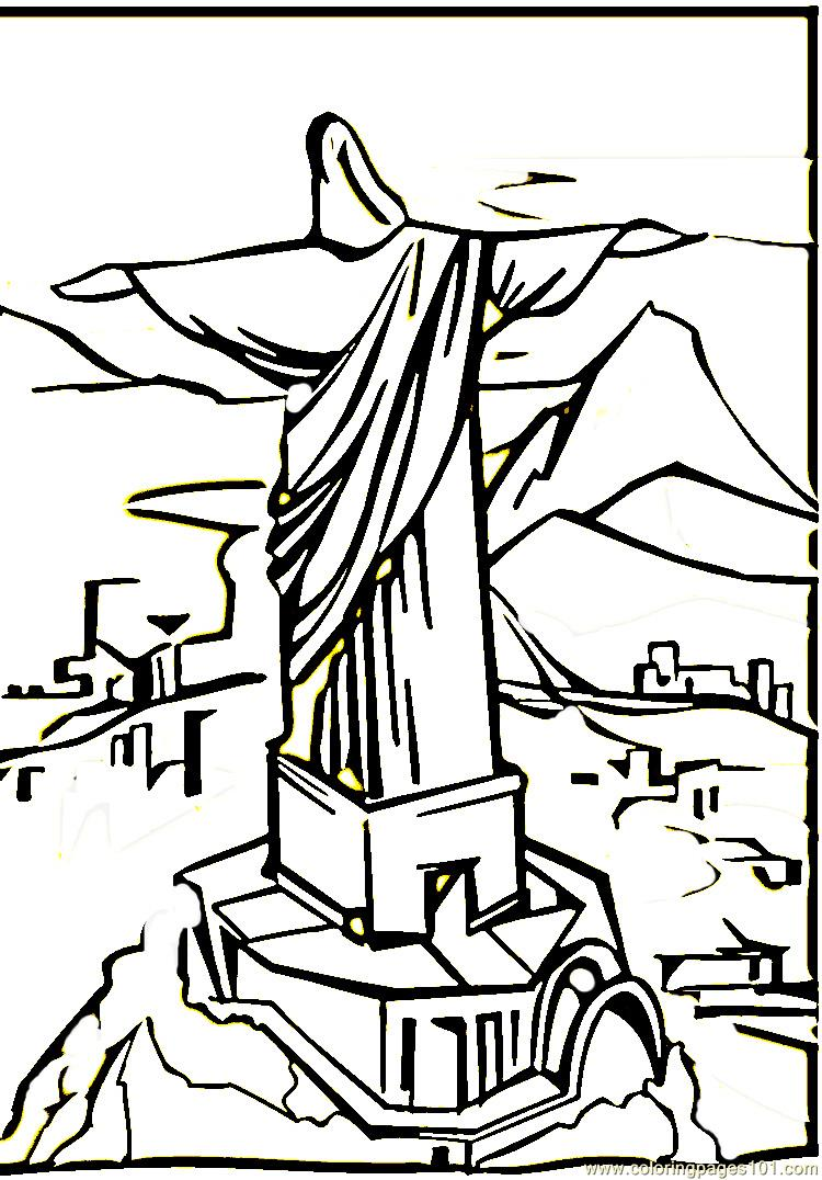 Christ The Remeeder In Rio De Janeiro Coloring Page Free Brazil