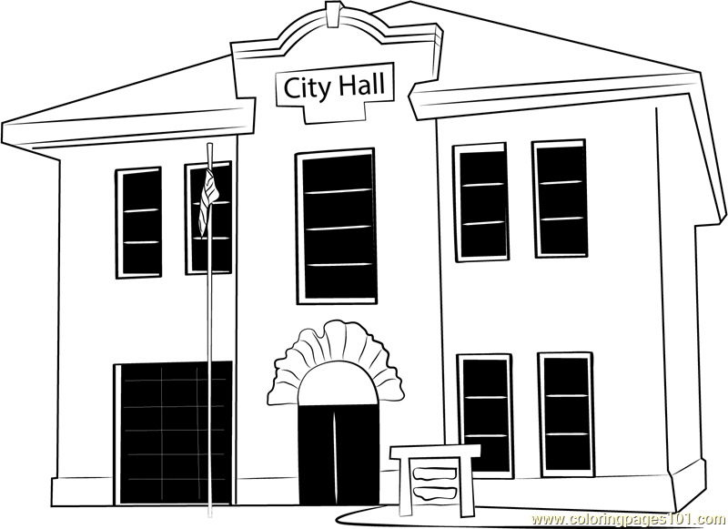 Guild Hall Coloring Page Free City Hall Coloring Pages