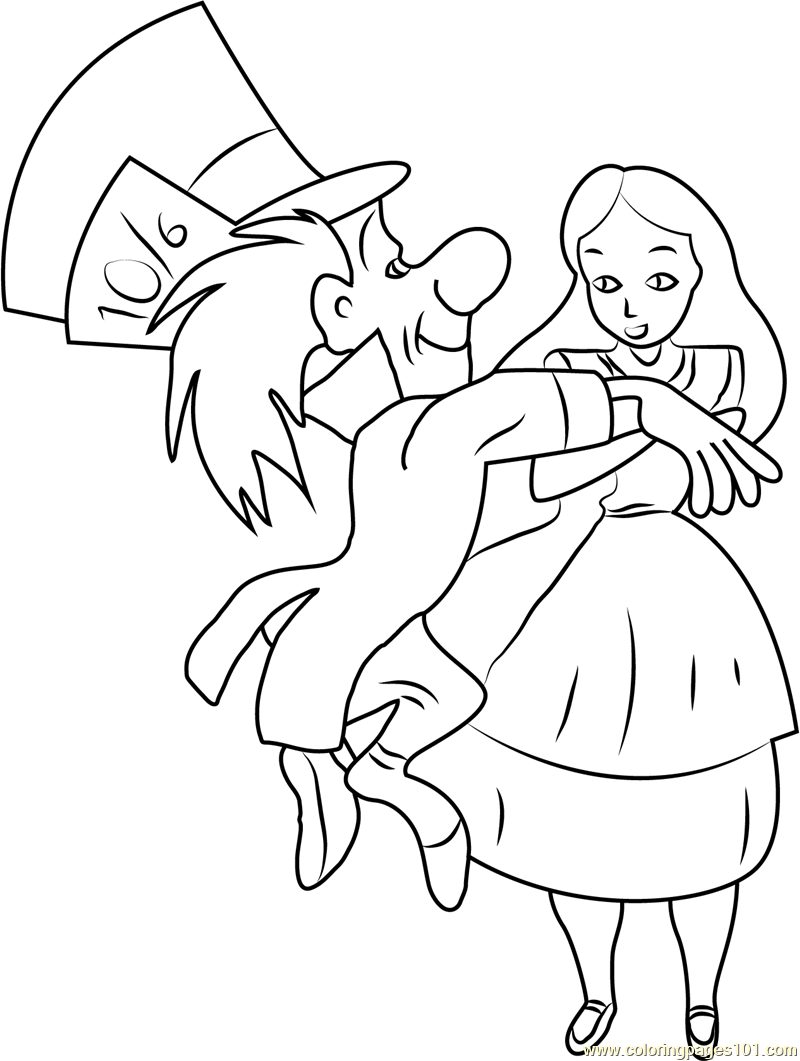 Alice In Wonderland With Mad Hatter Coloring Page Free Alice In
