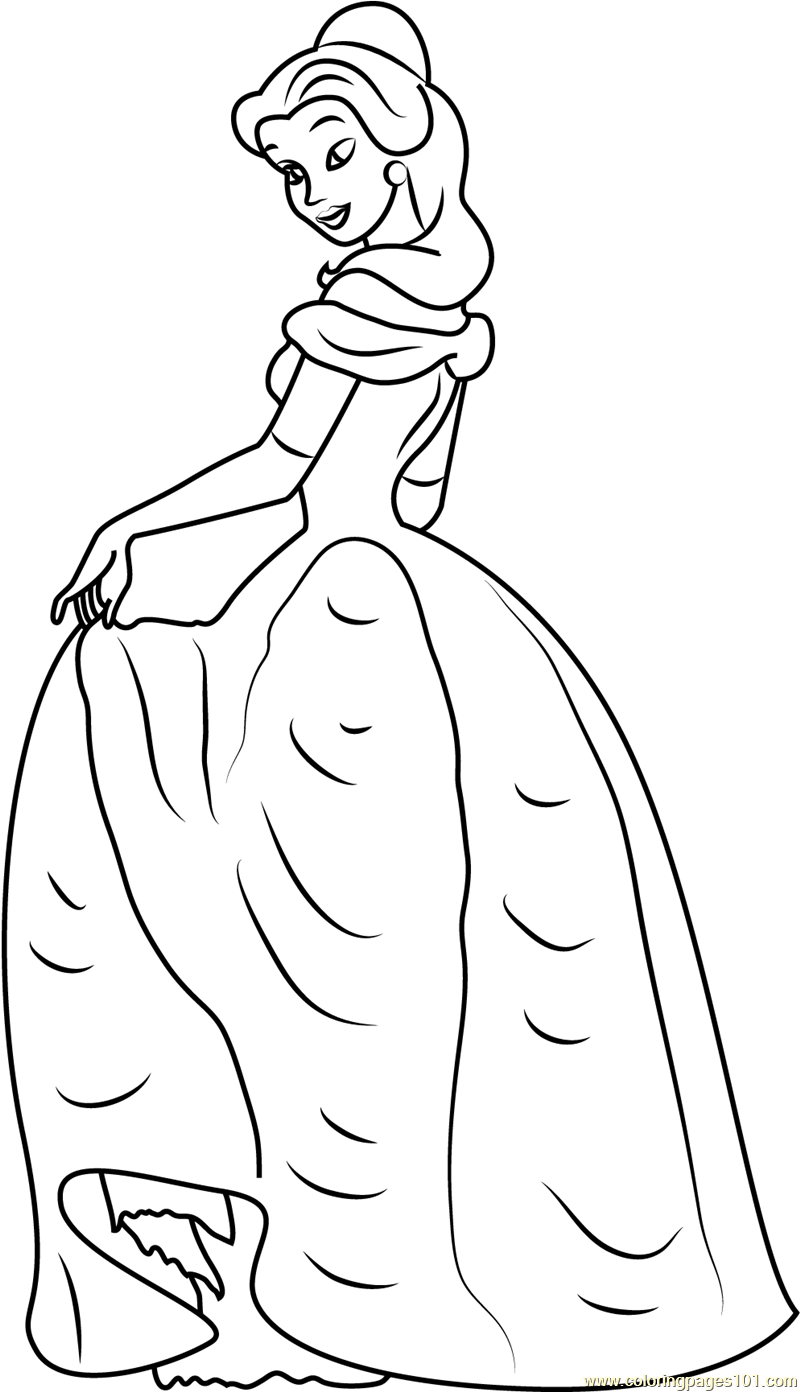 Princess Belle Coloring Page Free Beauty And The Beast