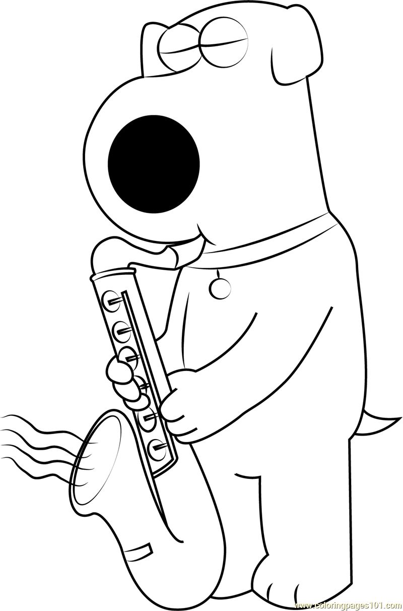 Brian Griffin Playing Saxophone Coloring Page Free Brian