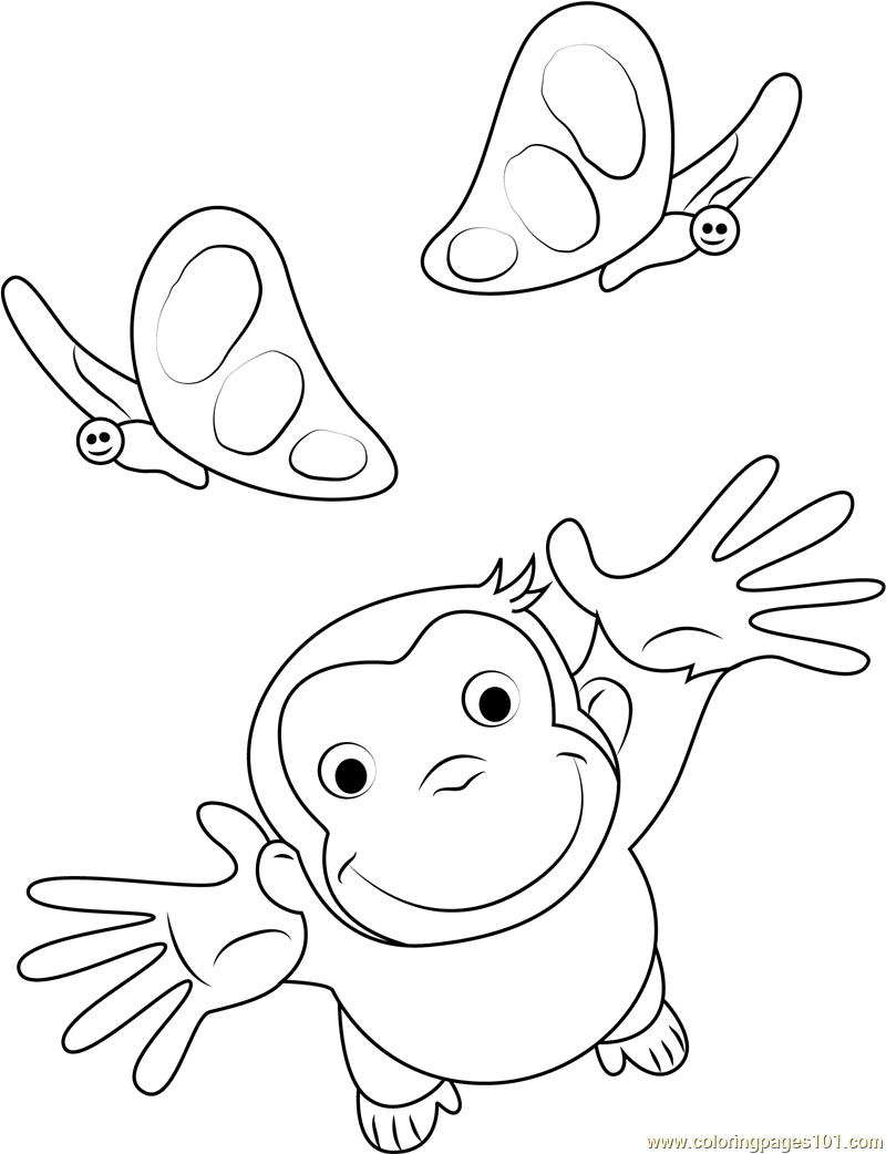 Curious George Playing With Butterfly Coloring Page Free Curious
