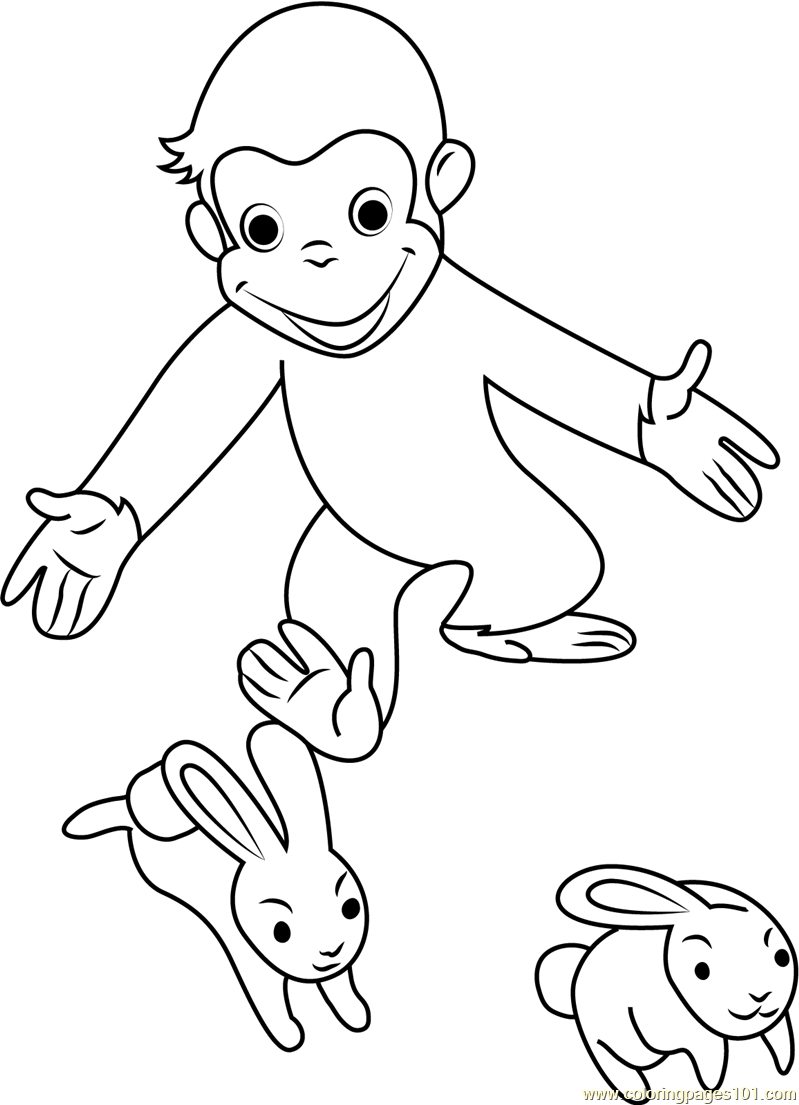 Curious George Playing With Rabbit Coloring Page Free