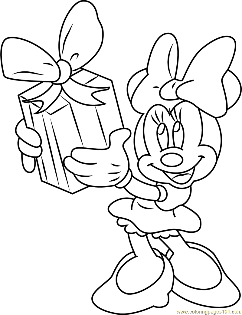 Minnie Mouse Taking Gift Coloring Page Free Minnie Mouse