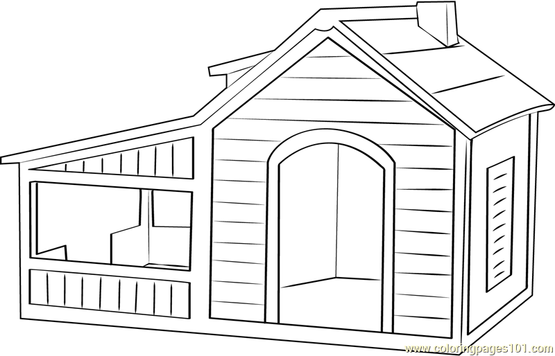 Dog House With Play Area Coloring Page Free Dog House