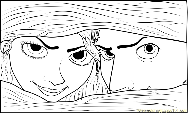 Rapunzel And Flynn Eyes Coloring Page Free Tangled Coloring Pages Coloringpages101 Com