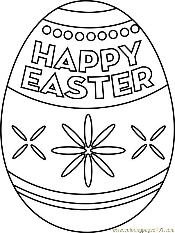 Happy Easter Egg Coloring Page Free Easter Coloring